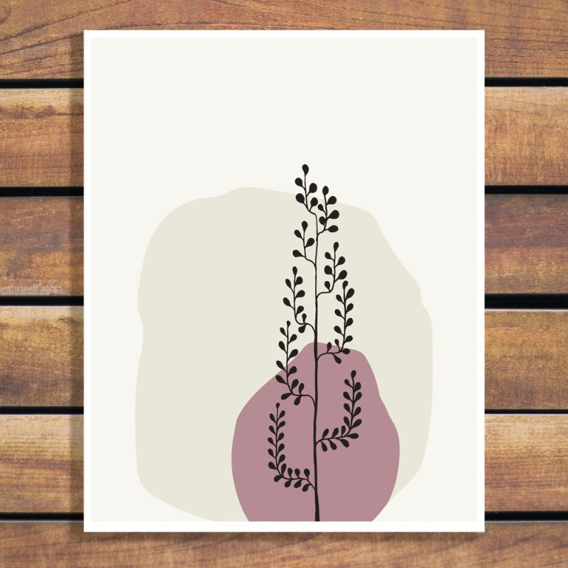 Tree in a Vase Natural Line Art Illustration Series by Brina Schenk