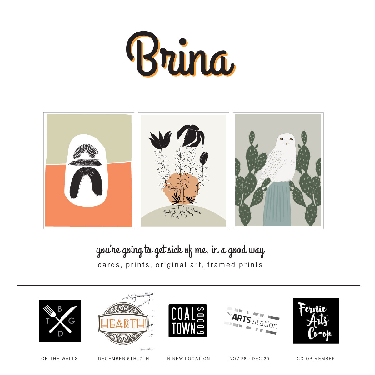 Where To Buy Brina's Art This December