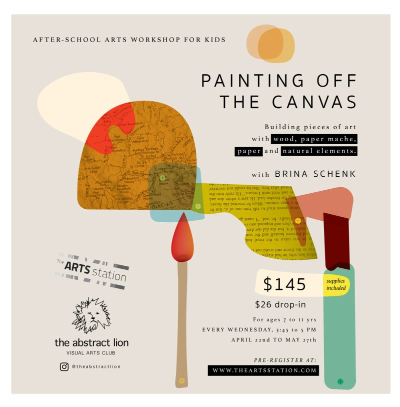 "Kids Art Workshop at The Arts Station with Brina Schenk ""Painting Off The Canvas"""