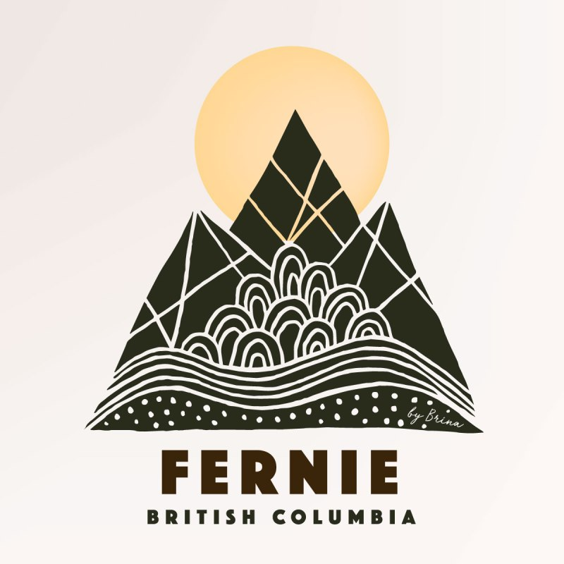 Fernie Mountain Town Graphic - art print, illustration, graphics by Brina Schenk