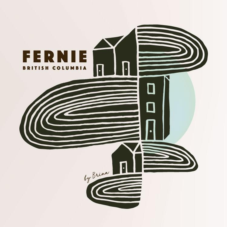 Fernie Mountain Town Graphic - art print, illustration, graphics by Brina Schenk